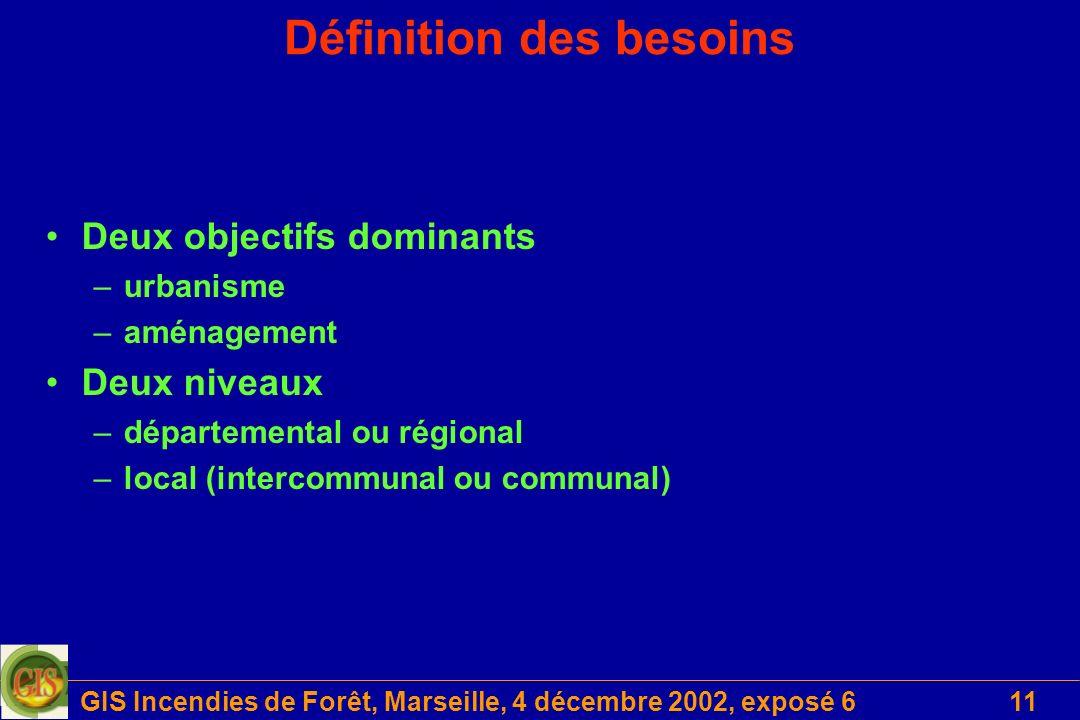 GIS Incendies de Forêt, Marseille, 4 décembre 2002, exposé 611 Définition des besoins Deux objectifs dominants –urbanisme –aménagement Deux niveaux –départemental ou régional –local (intercommunal ou communal)