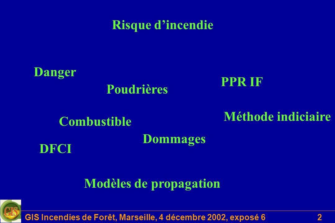 GIS Incendies de Forêt, Marseille, 4 décembre 2002, exposé 63 Objectifs Clarifier les notions de risque dincendie Lister les besoins en évaluation et cartographie du risque Inventorier les méthodes mises en œuvre Identifier les données utilisées Proposer une démarche méthodologique