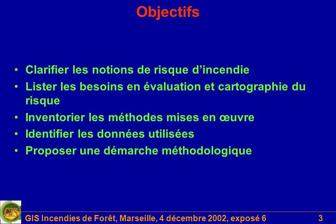 GIS Incendies de Forêt, Marseille, 4 décembre 2002, exposé 64 Support de travail Etudes antérieures –50 études répertoriées –une grille de lecture Entretiens –57 personnes interrogées –une grille dentretien