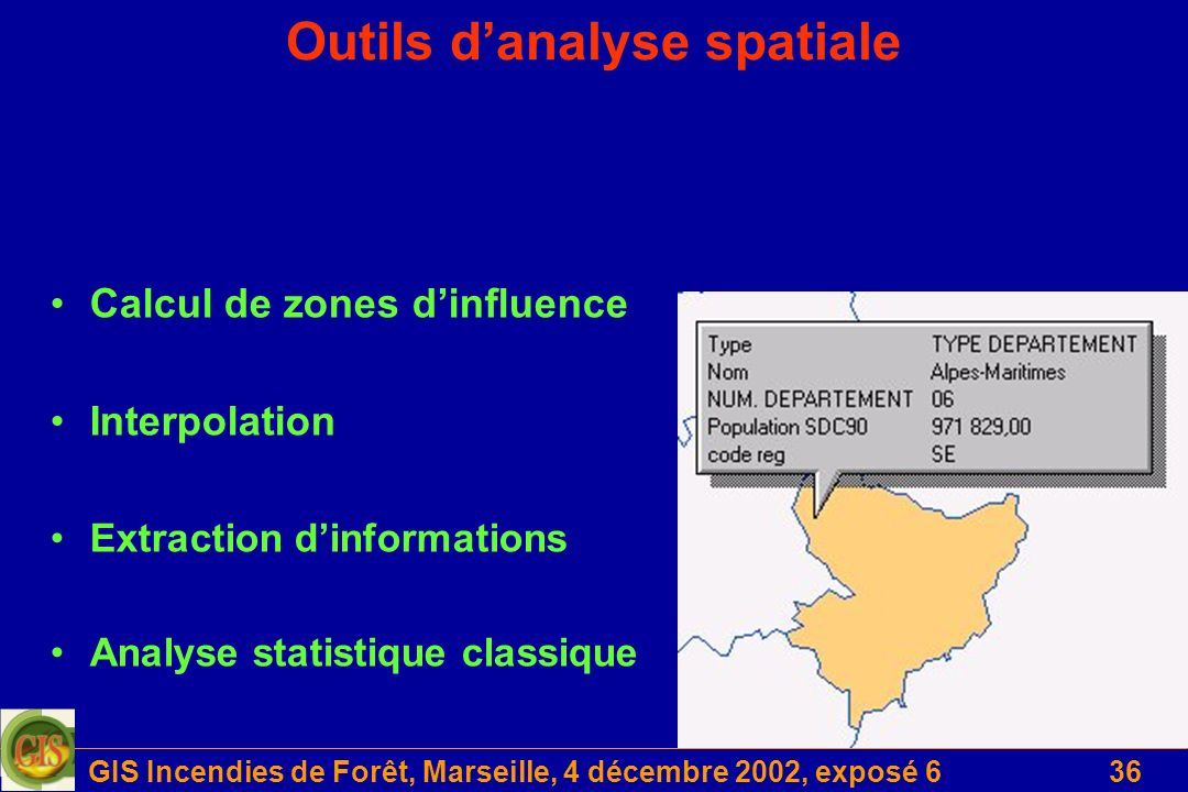 GIS Incendies de Forêt, Marseille, 4 décembre 2002, exposé 636 Outils danalyse spatiale Calcul de zones dinfluence Interpolation Extraction dinformati