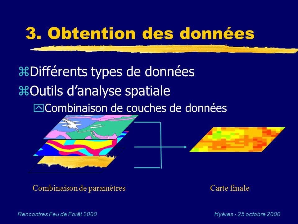 Hyères - 25 octobre 2000Rencontres Feu de Forêt 2000 3. Obtention des données zDifférents types de données zOutils danalyse spatiale yCombinaison de c