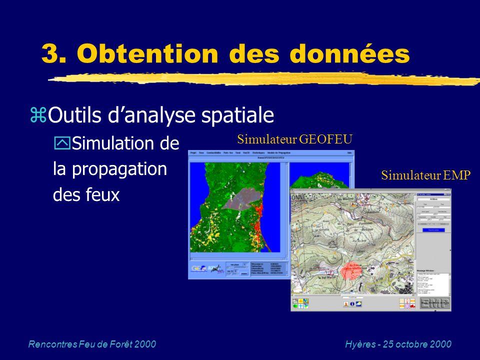 Hyères - 25 octobre 2000Rencontres Feu de Forêt 2000 3. Obtention des données zOutils danalyse spatiale ySimulation de la propagation des feux Simulat