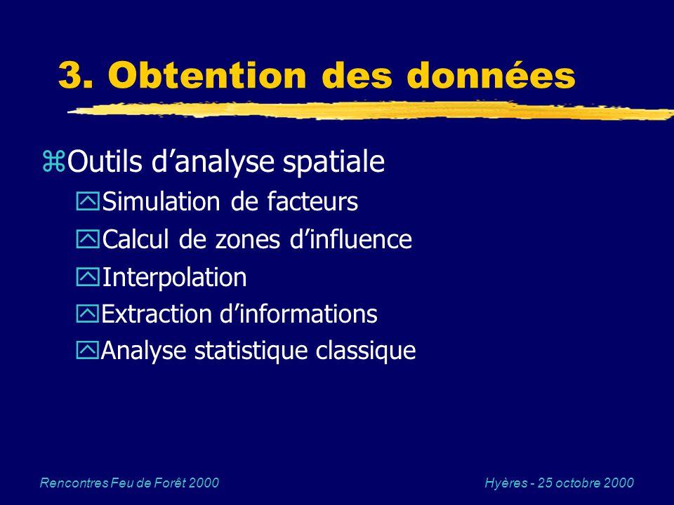 Hyères - 25 octobre 2000Rencontres Feu de Forêt 2000 3. Obtention des données zOutils danalyse spatiale ySimulation de facteurs yCalcul de zones dinfl