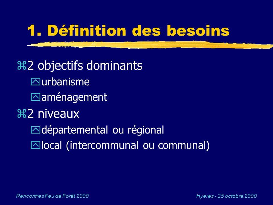 Hyères - 25 octobre 2000Rencontres Feu de Forêt 2000 1. Définition des besoins z2 objectifs dominants yurbanisme yaménagement z2 niveaux ydépartementa