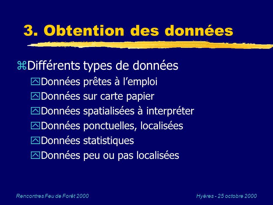 Hyères - 25 octobre 2000Rencontres Feu de Forêt 2000 3. Obtention des données zDifférents types de données yDonnées prêtes à lemploi yDonnées sur cart
