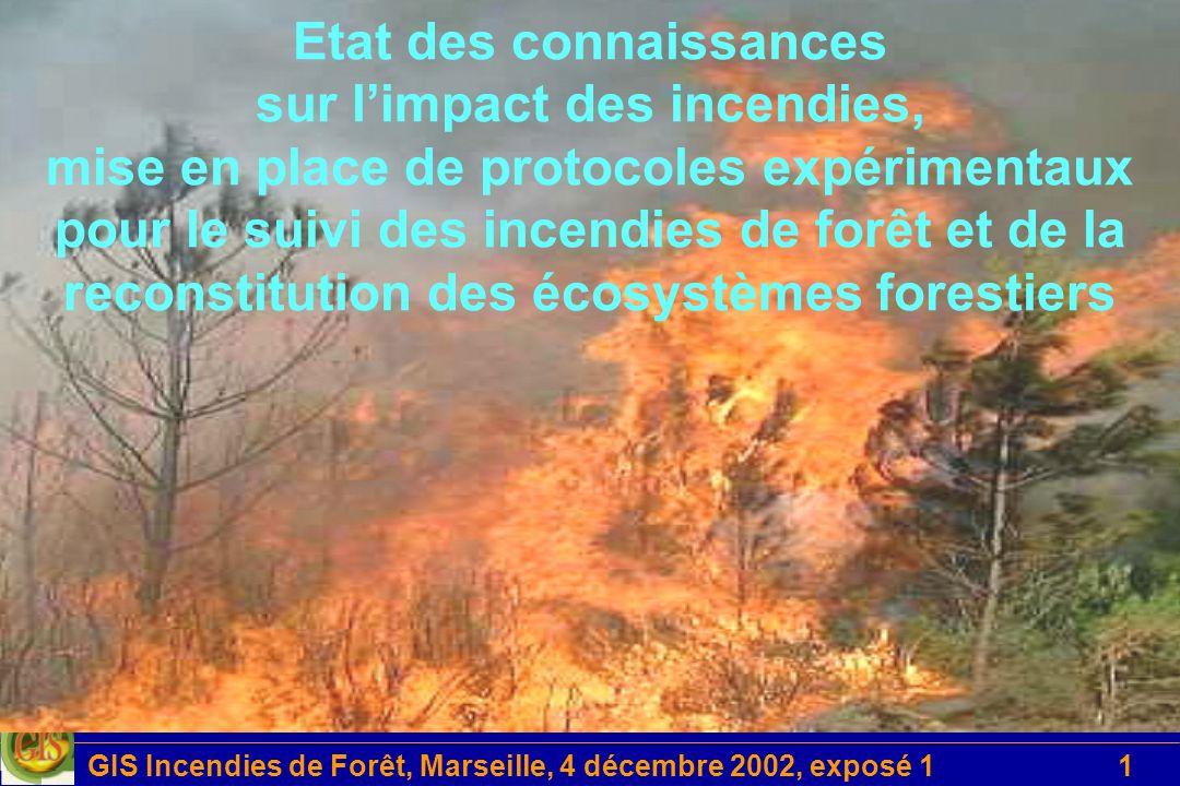 GIS Incendies de Forêt, Marseille, 4 décembre 2002, exposé 112 Description des méthodes et des protocoles expérimentaux (6/8) Description de lhumus et du sol (D GILLON) –Paramètres à mesurer –Mesure des caractéristiques de lhumus et du sol –Les mesures pendant, juste après et après l incendie –Le suivi de lérosion