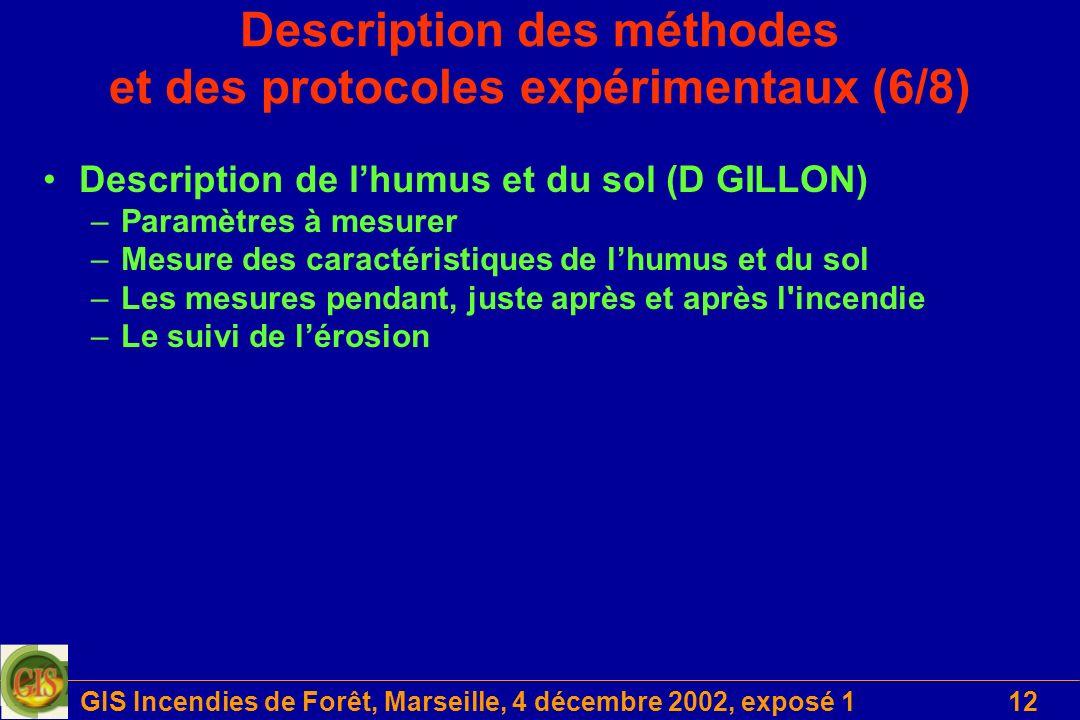 GIS Incendies de Forêt, Marseille, 4 décembre 2002, exposé 112 Description des méthodes et des protocoles expérimentaux (6/8) Description de lhumus et