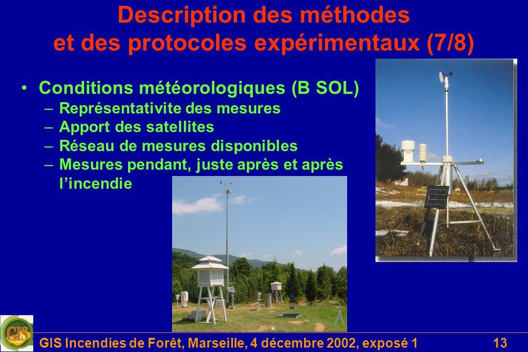 GIS Incendies de Forêt, Marseille, 4 décembre 2002, exposé 113 Description des méthodes et des protocoles expérimentaux (7/8) Conditions météorologiqu