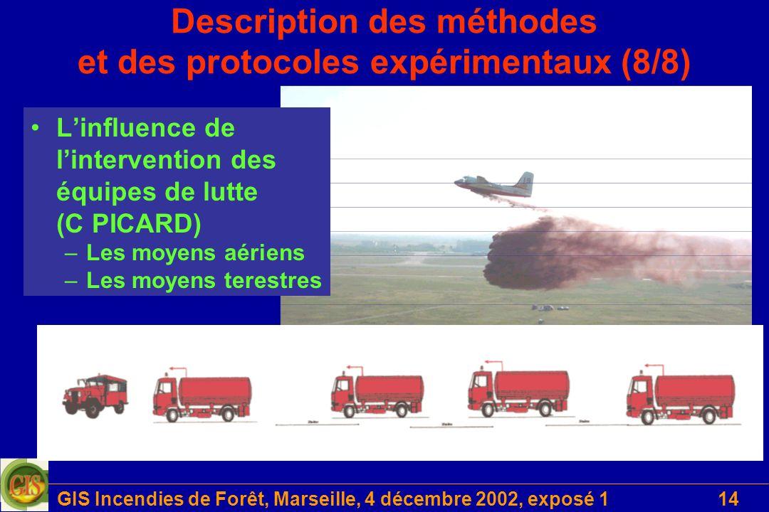 GIS Incendies de Forêt, Marseille, 4 décembre 2002, exposé 114 Description des méthodes et des protocoles expérimentaux (8/8) Linfluence de lintervent