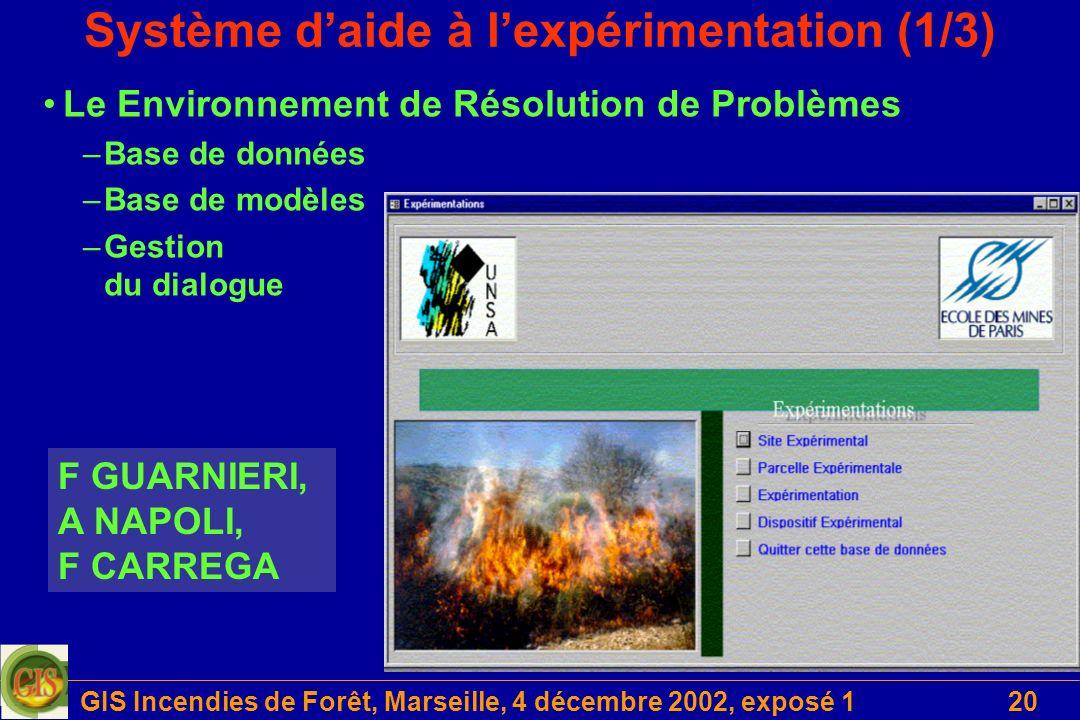 GIS Incendies de Forêt, Marseille, 4 décembre 2002, exposé 120 Système daide à lexpérimentation (1/3) F GUARNIERI, A NAPOLI, F CARREGA Le Environnemen