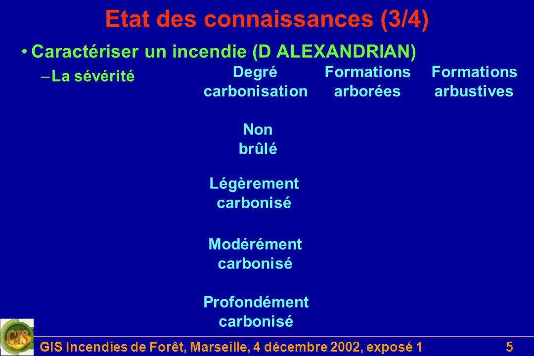 GIS Incendies de Forêt, Marseille, 4 décembre 2002, exposé 15 Etat des connaissances (3/4) Caractériser un incendie (D ALEXANDRIAN) –La sévérité Forma