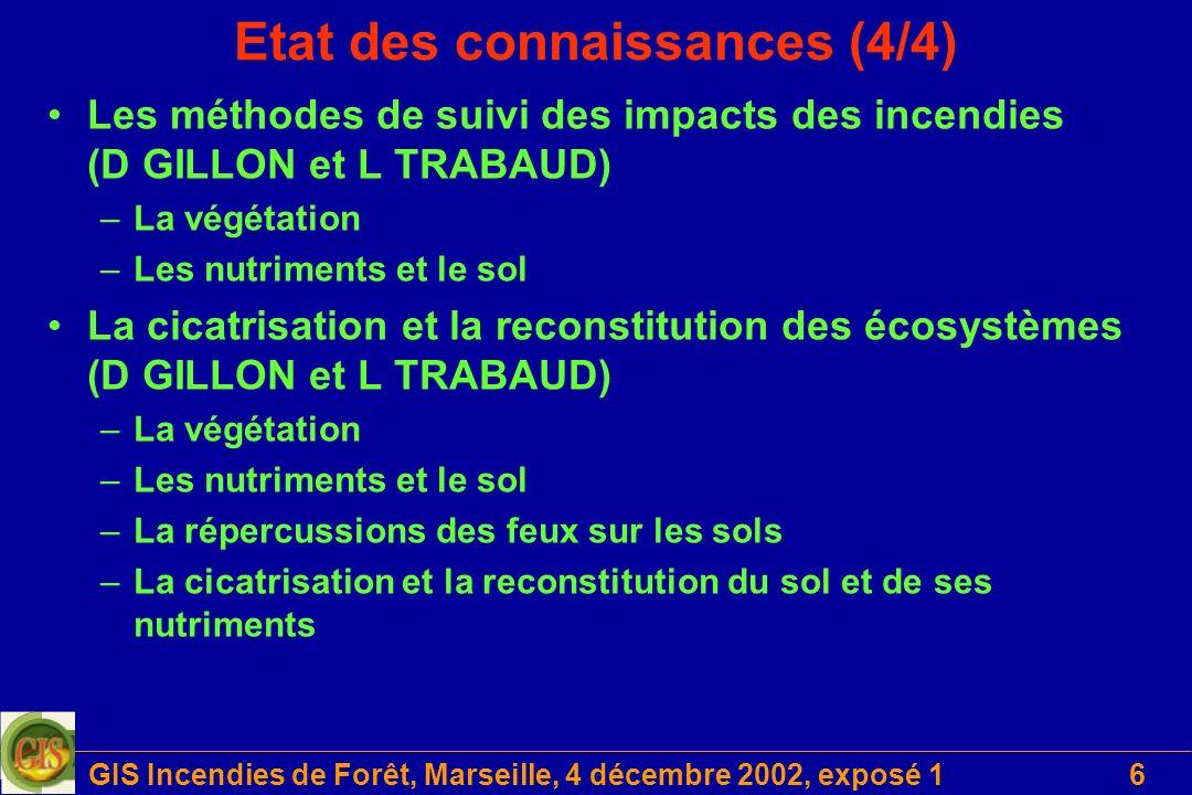 GIS Incendies de Forêt, Marseille, 4 décembre 2002, exposé 16 Etat des connaissances (4/4) Les méthodes de suivi des impacts des incendies (D GILLON e
