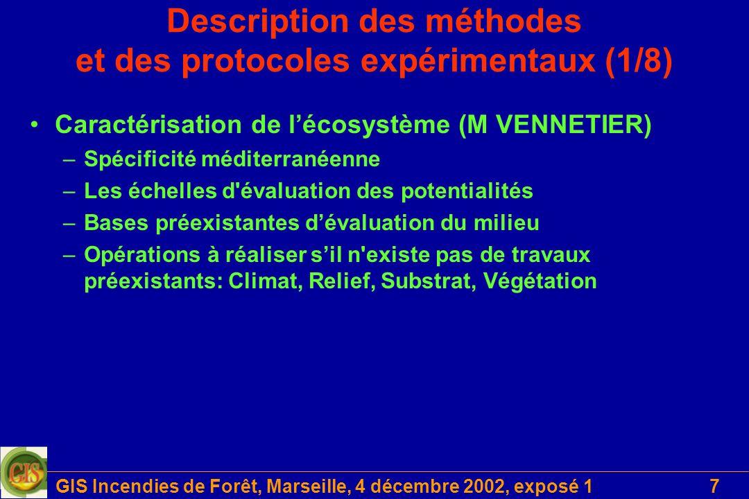 GIS Incendies de Forêt, Marseille, 4 décembre 2002, exposé 17 Description des méthodes et des protocoles expérimentaux (1/8) Caractérisation de lécosy