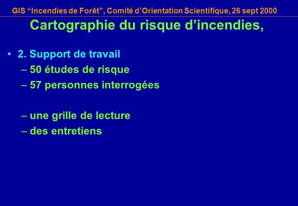 GIS Incendies de Forêt, Comité dOrientation Scientifique, 26 sept 2000 Cartographie du risque dincendies, 2.