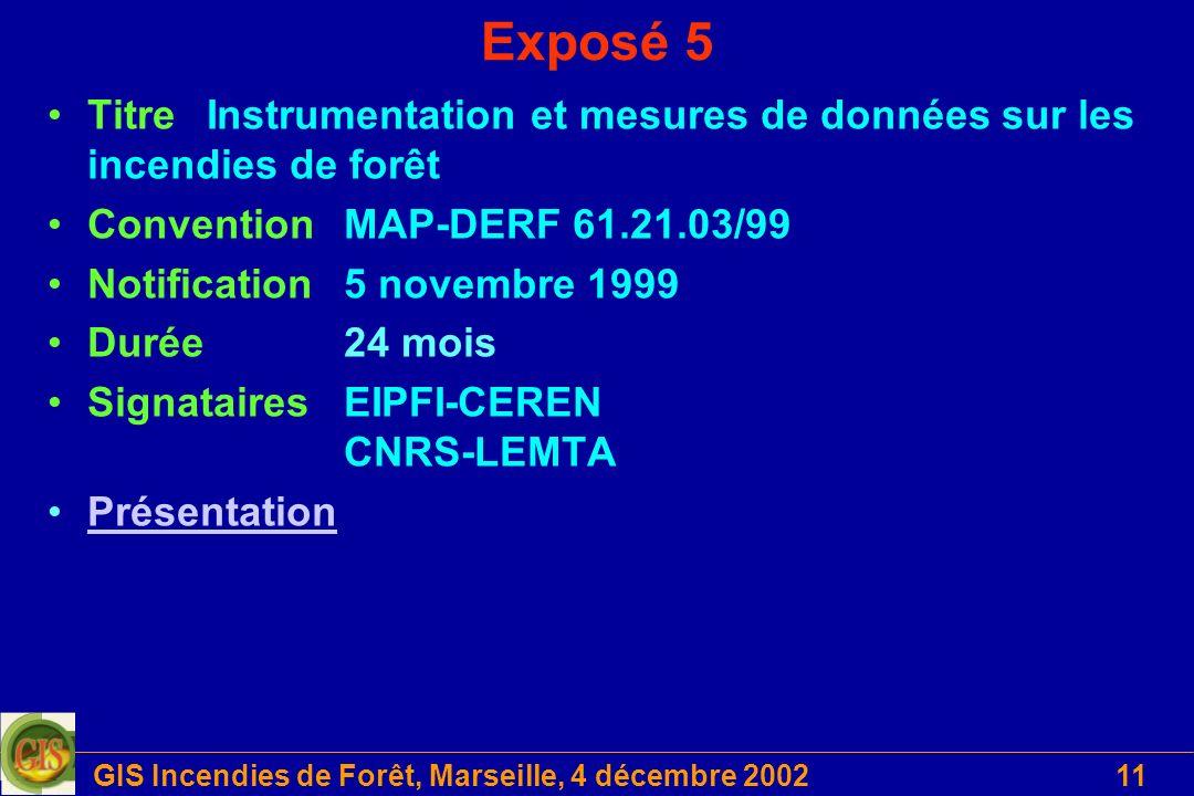 GIS Incendies de Forêt, Marseille, 4 décembre 200211 Exposé 5 Titre Instrumentation et mesures de données sur les incendies de forêt ConventionMAP-DER