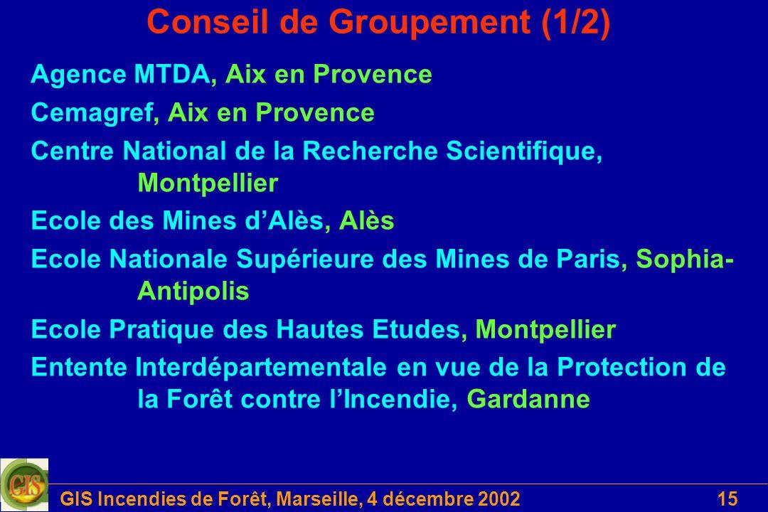 GIS Incendies de Forêt, Marseille, 4 décembre 200215 Conseil de Groupement (1/2) Agence MTDA, Aix en Provence Cemagref, Aix en Provence Centre Nationa