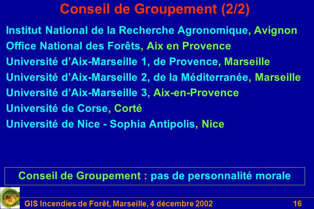 GIS Incendies de Forêt, Marseille, 4 décembre 200216 Conseil de Groupement (2/2) Institut National de la Recherche Agronomique, Avignon Office Nationa
