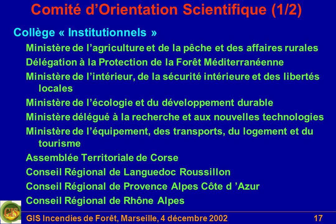 GIS Incendies de Forêt, Marseille, 4 décembre 200217 Comité dOrientation Scientifique (1/2) Collège « Institutionnels » Ministère de lagriculture et d