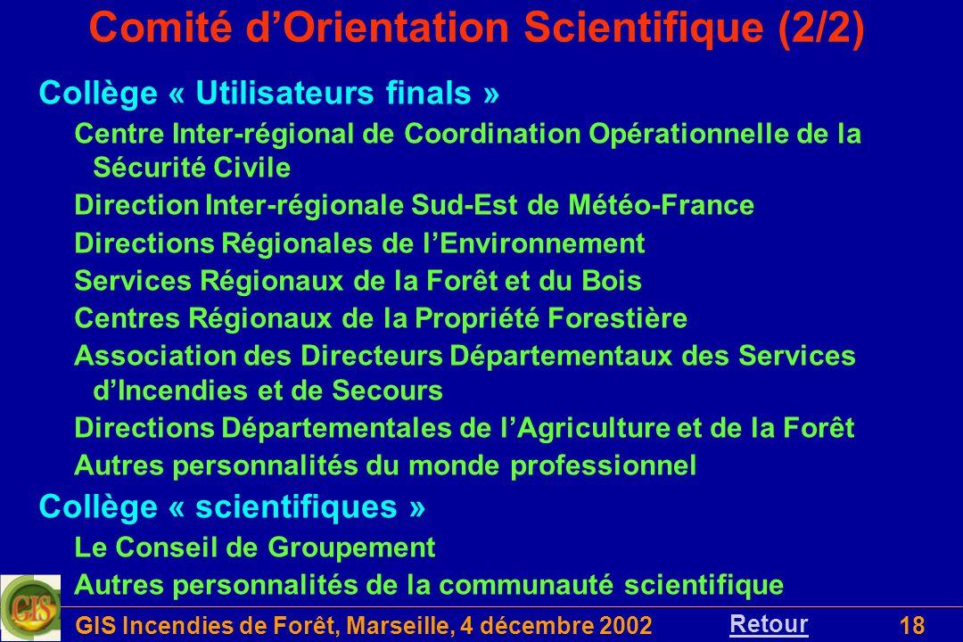GIS Incendies de Forêt, Marseille, 4 décembre 200218 Comité dOrientation Scientifique (2/2) Collège « Utilisateurs finals » Centre Inter-régional de C