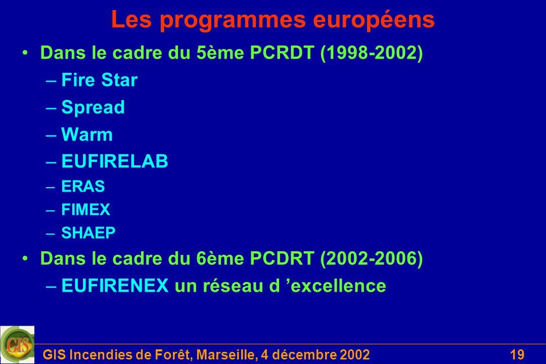 GIS Incendies de Forêt, Marseille, 4 décembre 200219 Les programmes européens Dans le cadre du 5ème PCRDT (1998-2002) –Fire Star –Spread –Warm –EUFIRE