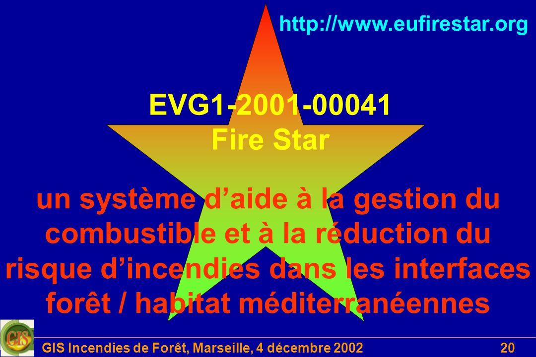GIS Incendies de Forêt, Marseille, 4 décembre 200220 EVG1-2001-00041 Fire Star un système daide à la gestion du combustible et à la réduction du risqu