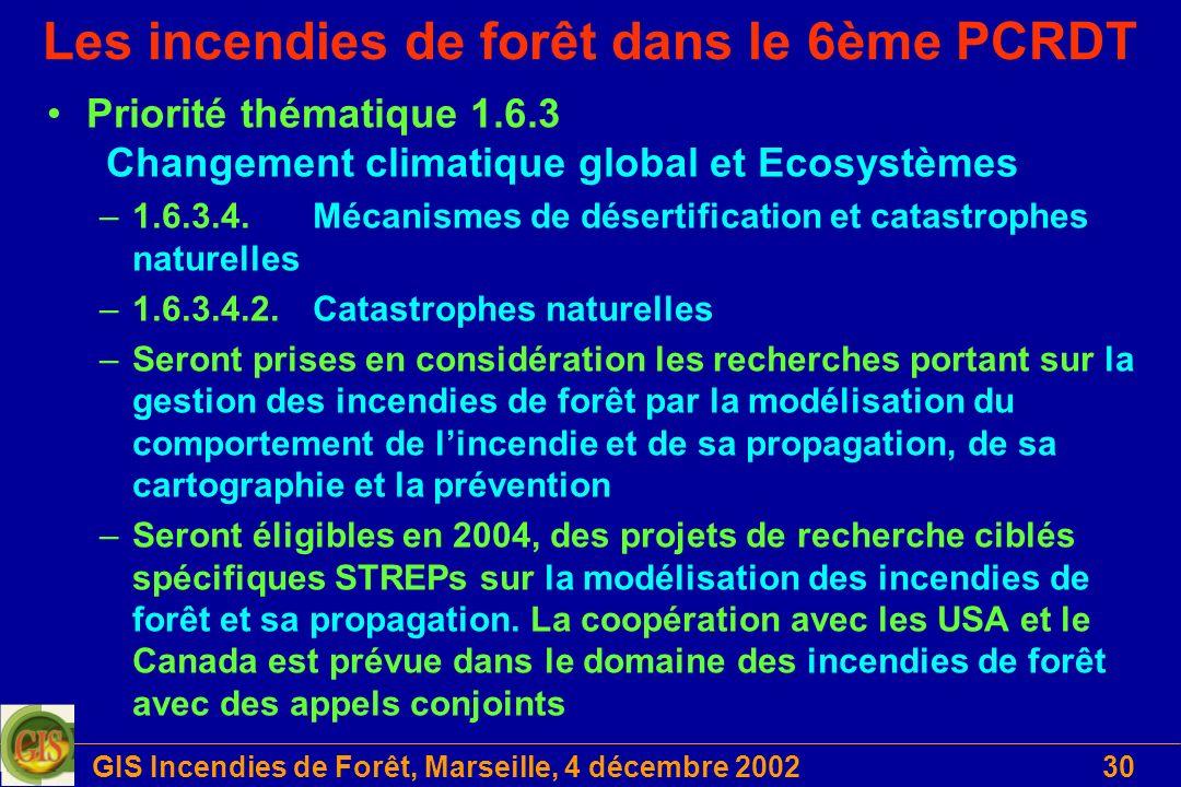 GIS Incendies de Forêt, Marseille, 4 décembre 200230 Les incendies de forêt dans le 6ème PCRDT Priorité thématique 1.6.3 Changement climatique global
