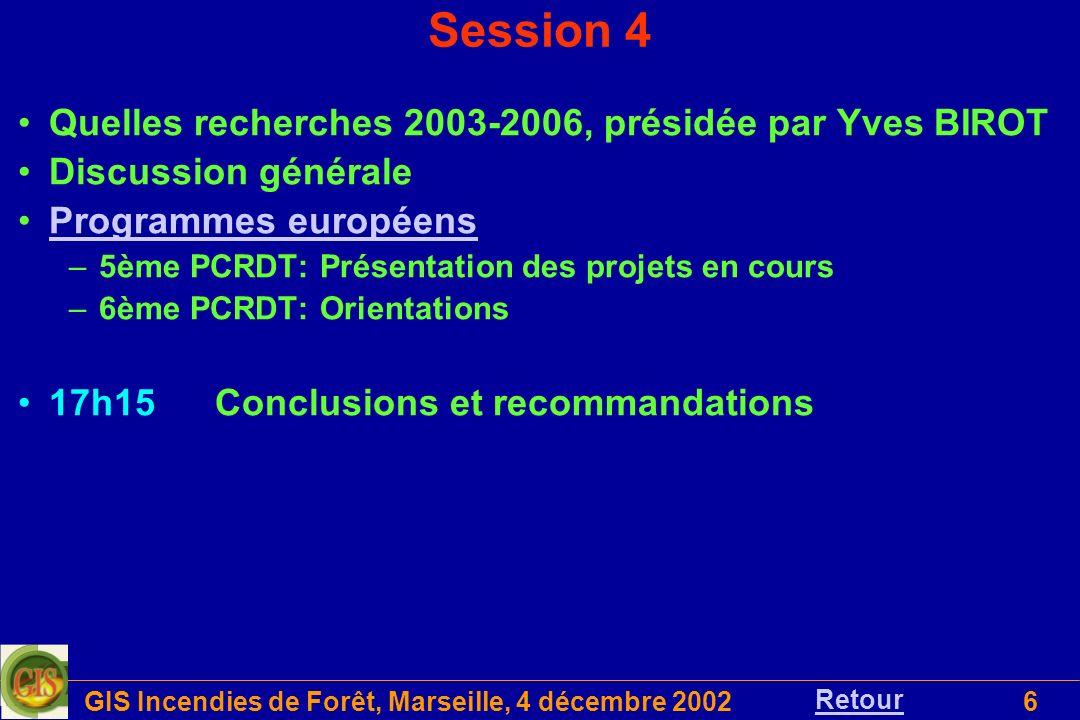GIS Incendies de Forêt, Marseille, 4 décembre 20026 Quelles recherches 2003-2006, présidée par Yves BIROT Discussion générale Programmes européens –5è