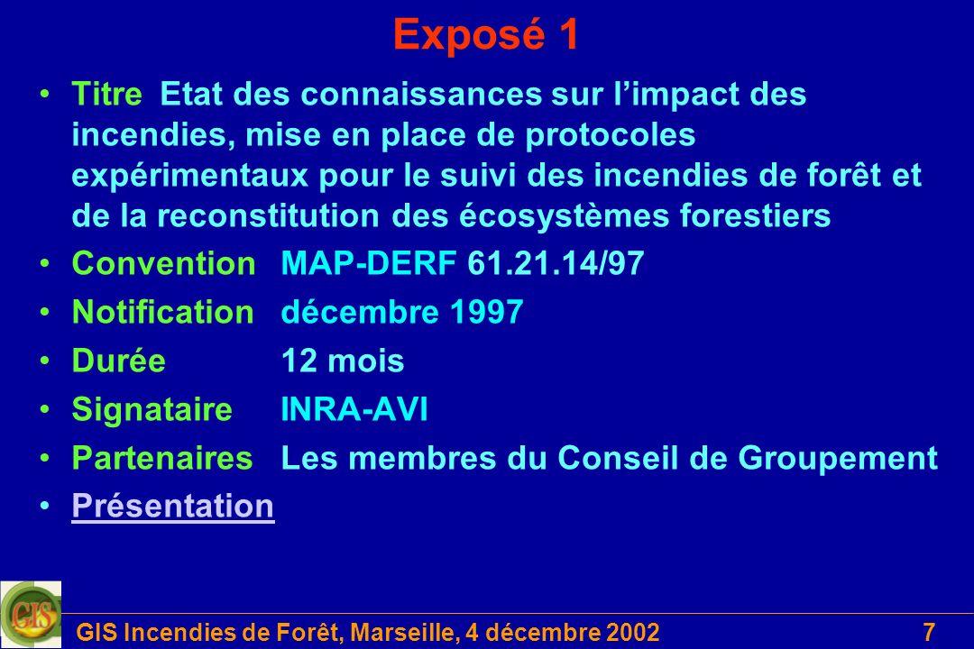 GIS Incendies de Forêt, Marseille, 4 décembre 20027 Exposé 1 TitreEtat des connaissances sur limpact des incendies, mise en place de protocoles expéri