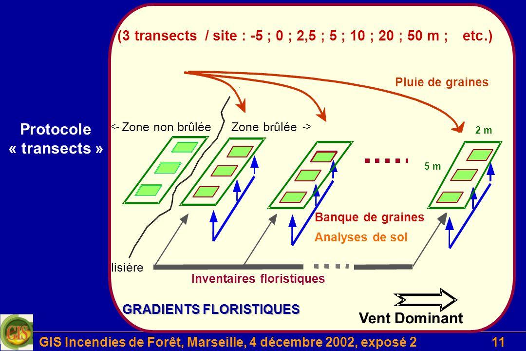 GIS Incendies de Forêt, Marseille, 4 décembre 2002, exposé 211 Projet 2 Protocole « transects »