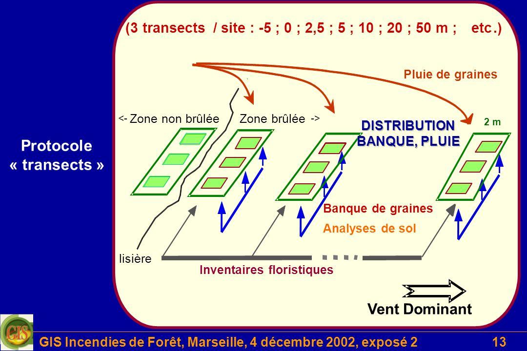 GIS Incendies de Forêt, Marseille, 4 décembre 2002, exposé 213 Projet 2 Protocole « transects »