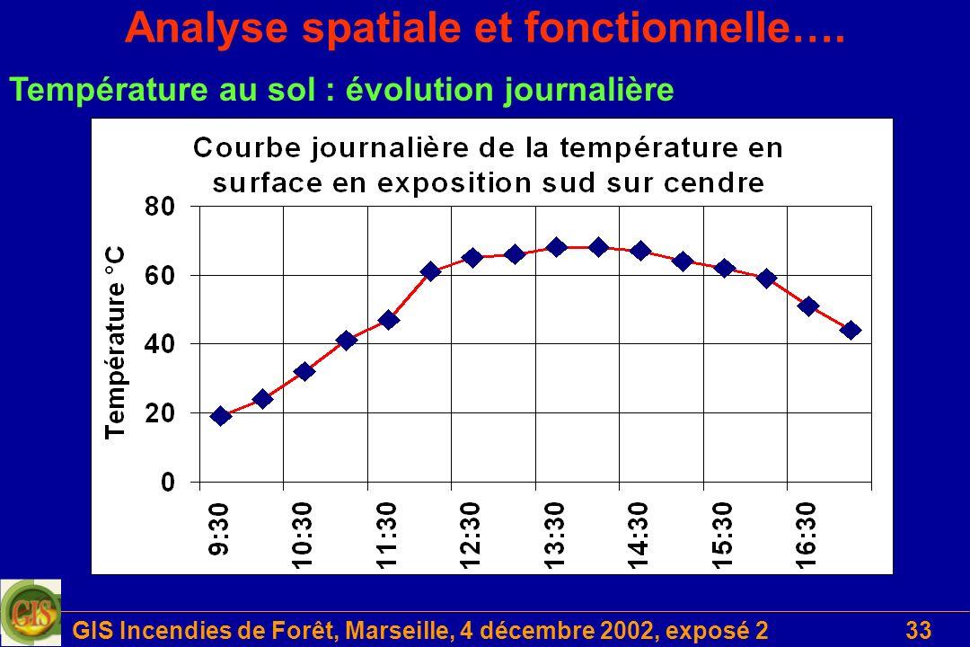 GIS Incendies de Forêt, Marseille, 4 décembre 2002, exposé 233 Analyse spatiale et fonctionnelle…. Température au sol : évolution journalière