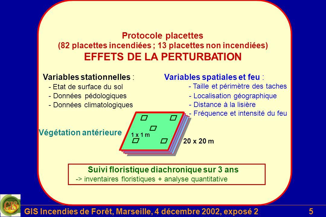 GIS Incendies de Forêt, Marseille, 4 décembre 2002, exposé 26 Projet 2 Suivi floristique diachronique sur 3 ans -> inventaires floristiques + analyse quantitative 20 x 20 m 1 x 1 m Variables stationnelles : - Données climatologiques Végétation antérieure Variables spatiales et feu : Protocole placettes (82 placettes incendiées ; 13 placettes non incendiées) DYNAMIQUE TEMPORELLE - Etat de surface du sol - Données pédologiques - Taille et périmètre des taches - Localisation géographique - Distance à la lisière - Fréquence et intensité du feu