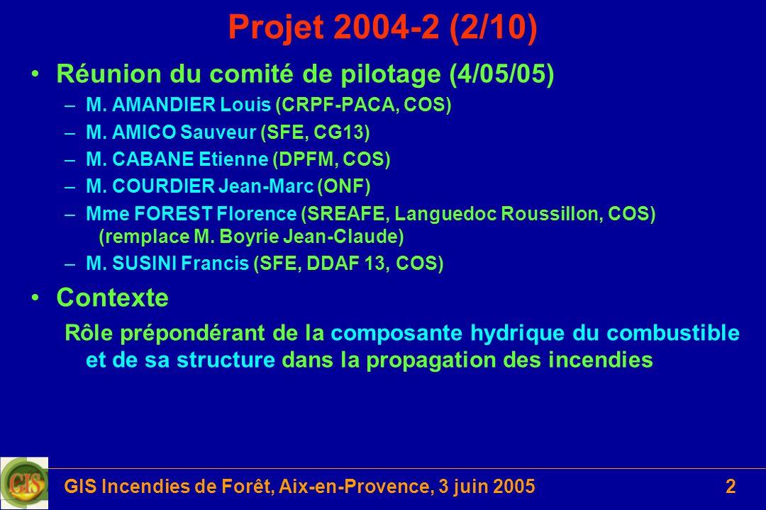 GIS Incendies de Forêt, Aix-en-Provence, 3 juin 20053 Projet 2004-2 (3/10) Hypothèses (effets) La transformation du couvert : débroussaillement seul ou combiné à lenlèvement dune autres strate, entraîne : (+) une plus grande disponibilité de la ressource en eau (interception réduite, pertes par évapotranspiration moindres) pour - les arbres conservés - les rejets (+) un effet mulch par le broyat maintenu (-) laugmentation du rayonnement au sol qui accentue les pertes par évaporation de lhorizon de surface et favorise, à moyen terme linstallation dhéliophiles