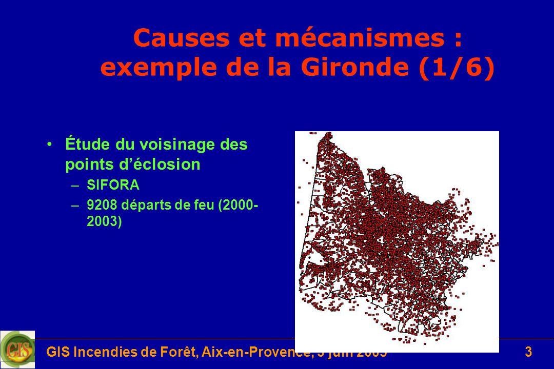 GIS Incendies de Forêt, Aix-en-Provence, 3 juin 20053 Causes et mécanismes : exemple de la Gironde (1/6) Étude du voisinage des points déclosion –SIFO