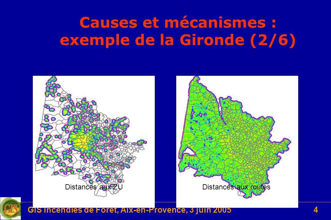 GIS Incendies de Forêt, Aix-en-Provence, 3 juin 20054 Causes et mécanismes : exemple de la Gironde (2/6) Distances aux ZUDistances aux routes