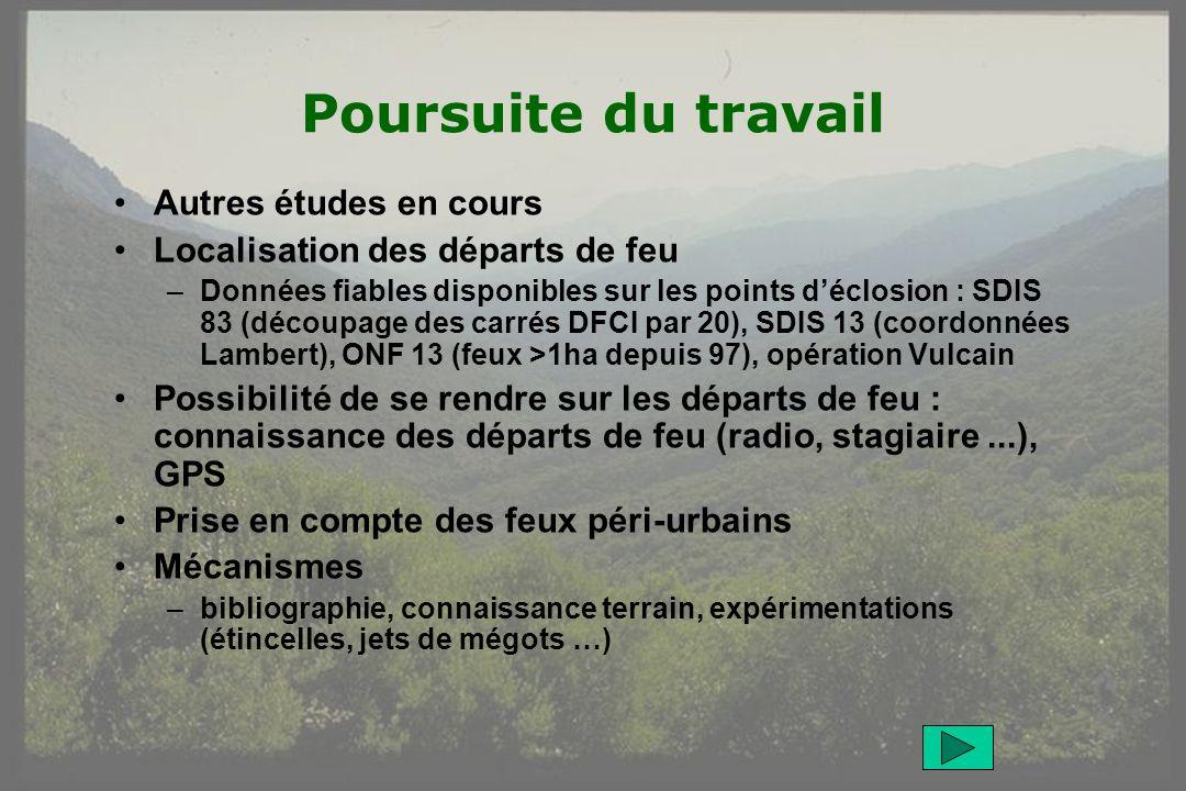 GIS Incendies de Forêt, Aix-en-Provence, 3 juin 20059 Poursuite du travail Autres études en cours Localisation des départs de feu –Données fiables dis