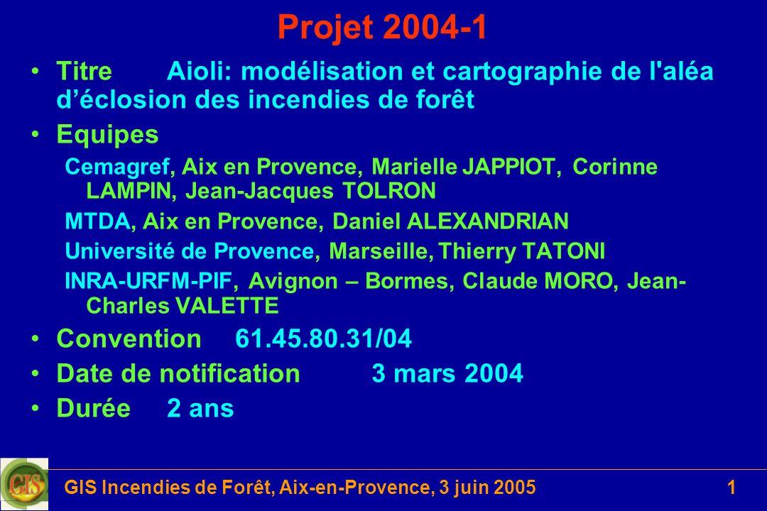 GIS Incendies de Forêt, Aix-en-Provence, 3 juin 20051 Projet 2004-1 TitreAioli: modélisation et cartographie de l'aléa déclosion des incendies de forê