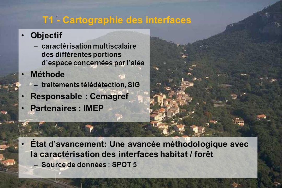 GIS Incendies de Forêt, Aix-en-Provence, 3 juin 20053 T1 - Cartographie des interfaces Objectif –caractérisation multiscalaire des différentes portion