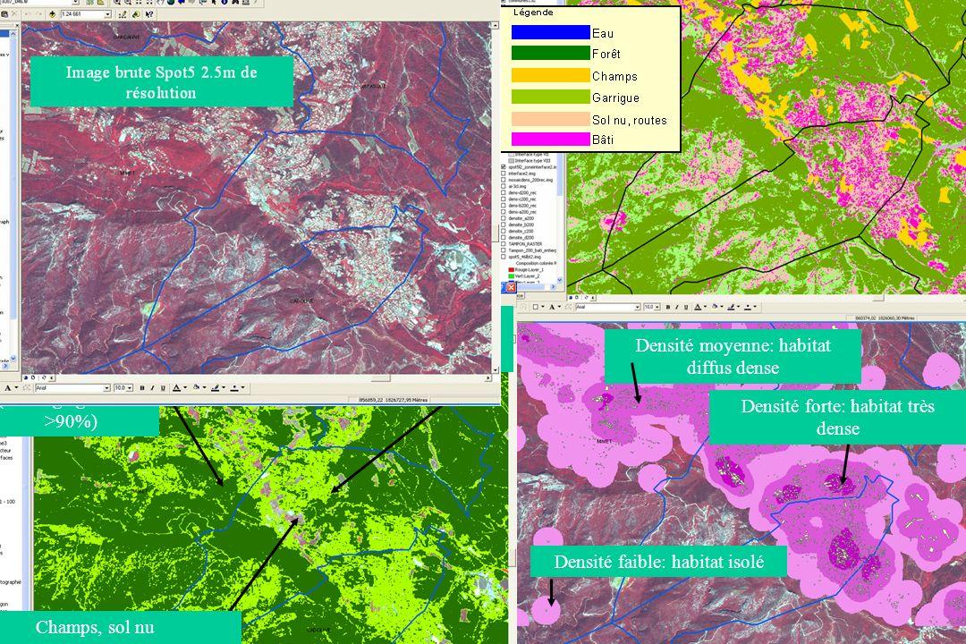 GIS Incendies de Forêt, Aix-en-Provence, 3 juin 20056 9 types dinterfaces Habitat –Forêt Indice dagrégation (3 cl) X Densité du bâti (3 cl) Teinte Densitédu bâtiIntensité de la couleur Agrégation Nom de linterface habitat- forêt Description de linterfaceCritères retenus Interface de Type Ihabitat isolé ou épars avec végétation dense et continue AI > 90 % et densité bâti 1 à 6 bâtis/ha Interface de Type IIhabitat diffus dense avec végétation dense et continue AI > 90 % et 7 < densité bâti 30 bâtis /ha Interface de Type IIIhabitat très dense avec végétation dense et continue AI > 90 % et densité bâti > 30 bâtis /ha Interface de Type IVhabitat isolé ou épars avec végétation peu dense et discontinue 0 < AI 90 % et densité bâti 1 à 6 bâtis /ha Interface de Type Vhabitat diffus dense avec végétation peu dense et discontinue 0 < AI 90 % 7 < densité bâti 30 bâtis /ha Interface de Type VIhabitat très dense avec végétation peu dense et discontinue 0 30 bâtis /ha Interface de Type VIIhabitat isolé ou épars isolé ou épars isolé ou épars en contact avec sol nu, champs AI = 0 % et densité bâti <= 1 à 6 bâtis/ha Interface de Type VIIIhabitat diffus dense en contact avec sol nu, champs AI = 0 % et 7 < densité bâti 30 bâtis /ha Interface de Type IXhabitat très dense en contact avec sol nu, champs AI = 0 % et densité bâti > 30 bâtis /ha