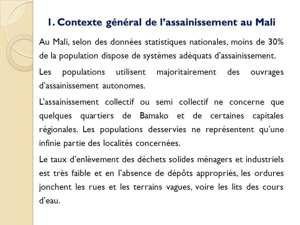 1. Contexte général de lassainissement au Mali Au Mali, selon des données statistiques nationales, moins de 30% de la population dispose de systèmes a
