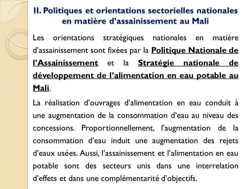 II. Politiques et orientations sectorielles nationales en matière dassainissement au Mali Les orientations stratégiques nationales en matière dassaini