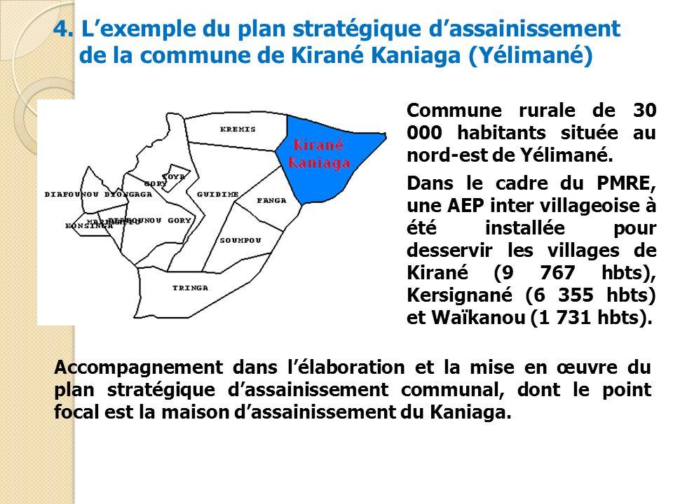 4. Lexemple du plan stratégique dassainissement de la commune de Kirané Kaniaga (Yélimané) Commune rurale de 30 000 habitants située au nord-est de Yé