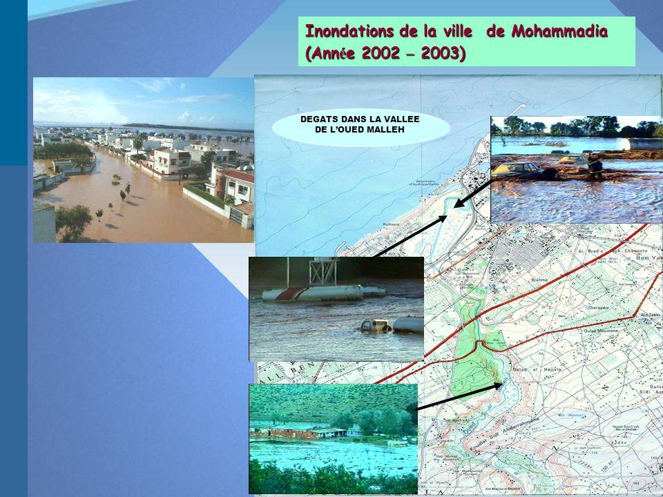DEGATS DANS LA VALLEE DE LOUED MALLEH Inondations de la ville de Mohammadia (Ann é e 2002 – 2003)
