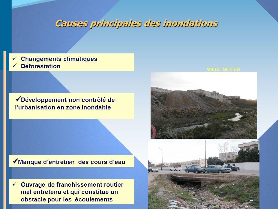 Causes principales des inondations Développement non contrôlé de l'urbanisation en zone inondable Manque dentretien des cours deau VILLE DE FES Ouvrag
