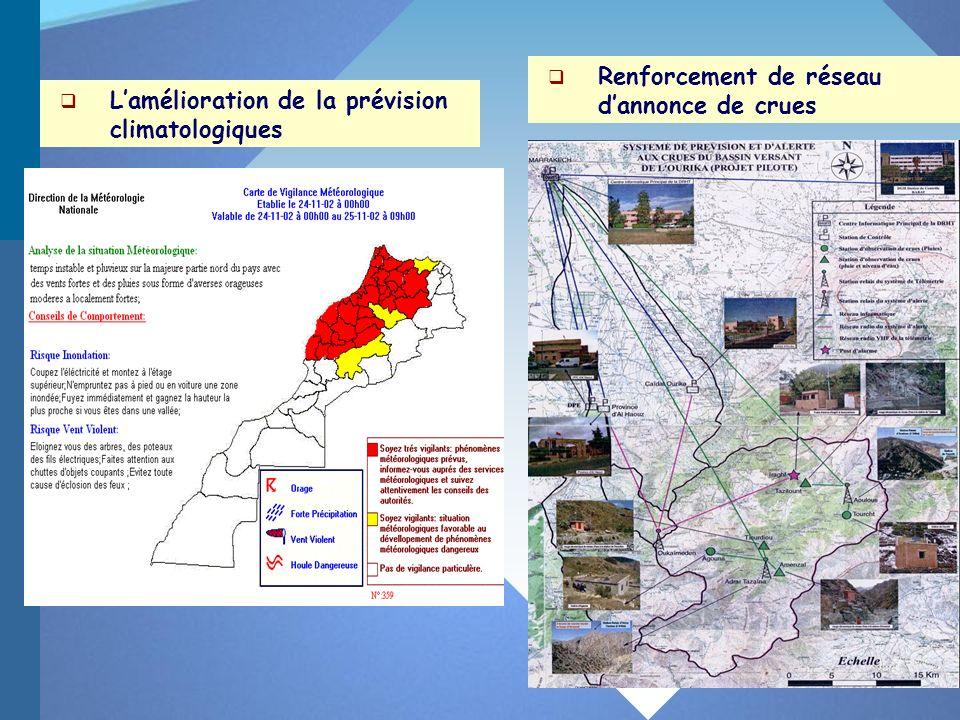 Lamélioration de la prévision climatologiques Renforcement de réseau dannonce de crues