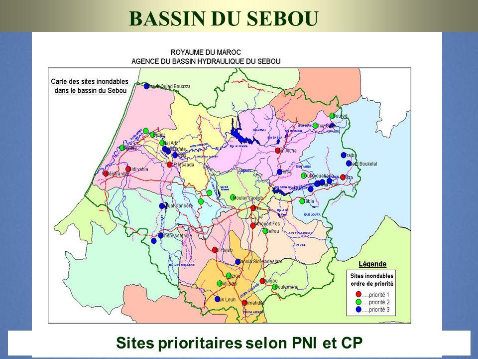 BASSIN DU SEBOU Sites prioritaires selon PNI et CP 13