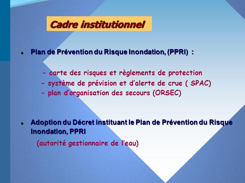 Cadre institutionnel Adoption du Décret instituant le Plan de Prévention du Risque Inondation, PPRI Adoption du Décret instituant le Plan de Prévention du Risque Inondation, PPRI (autorité gestionnaire de leau) Plan de Prévention du Risque Inondation, (PPRI) : Plan de Prévention du Risque Inondation, (PPRI) : - carte des risques et règlements de protection - système de prévision et dalerte de crue ( SPAC) - plan dorganisation des secours (ORSEC)