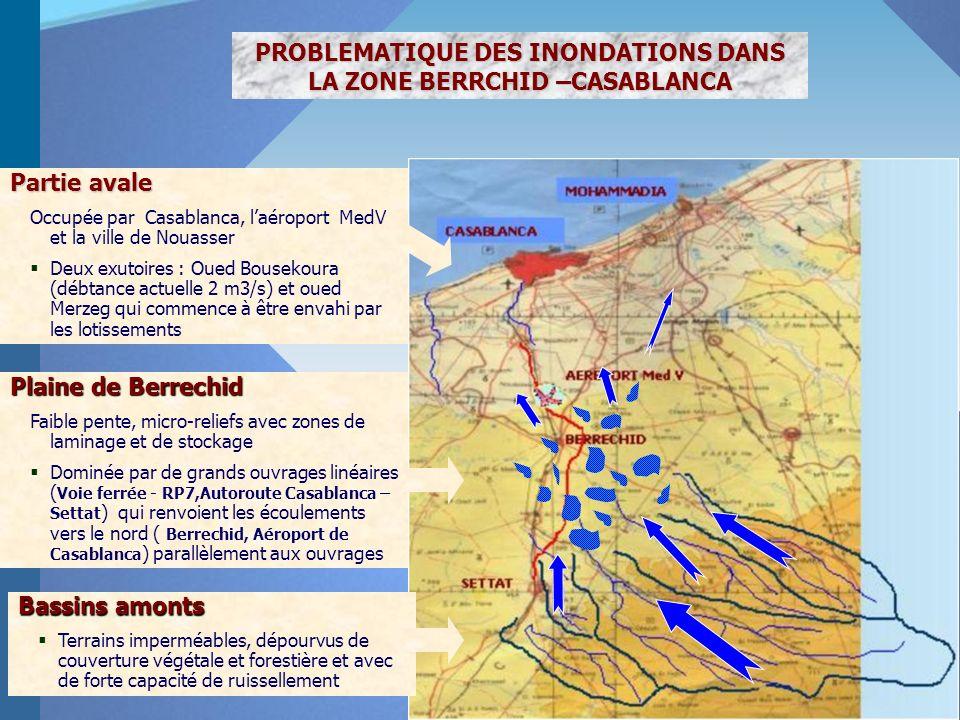 PROBLEMATIQUE DES INONDATIONS DANS LA ZONE BERRCHID –CASABLANCA Partie avale Occupée par Casablanca, laéroport MedV et la ville de Nouasser Deux exuto