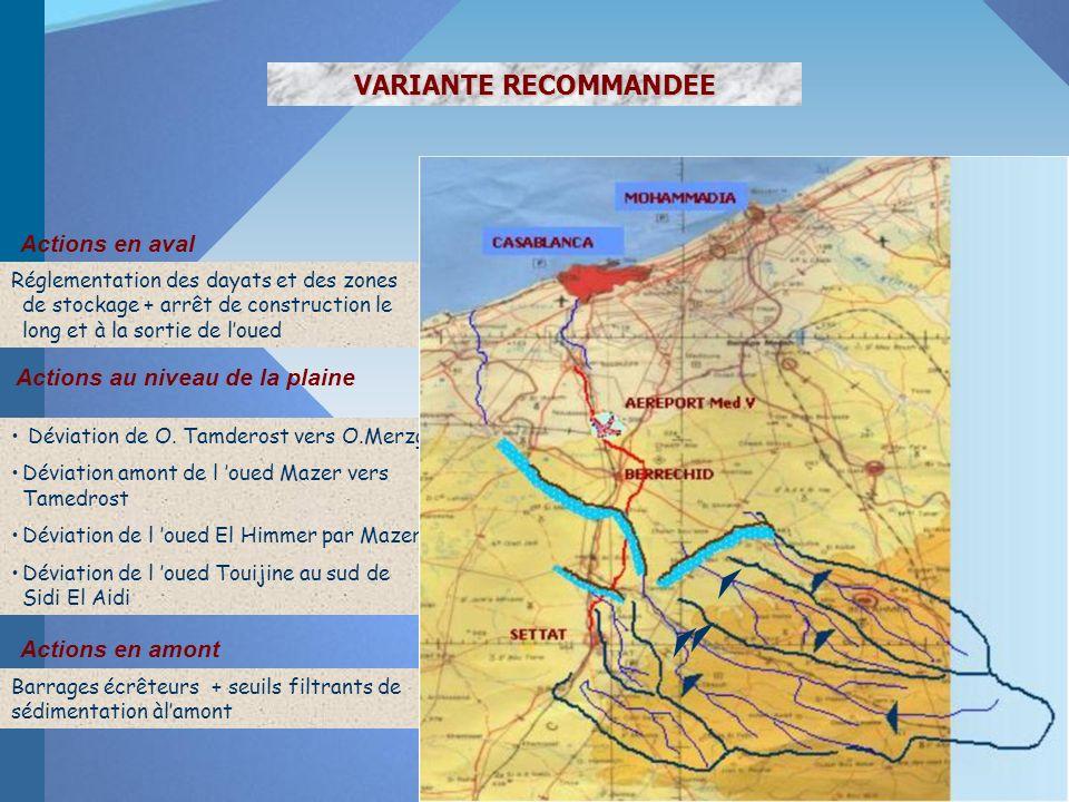 VARIANTE RECOMMANDEE Actions en amont Barrages écrêteurs + seuils filtrants de sédimentation àlamont Actions au niveau de la plaine Déviation de O.