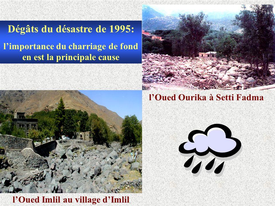 lOued Imlil au village dImlil lOued Ourika à Setti Fadma Dégâts du désastre de 1995: limportance du charriage de fond en est la principale cause
